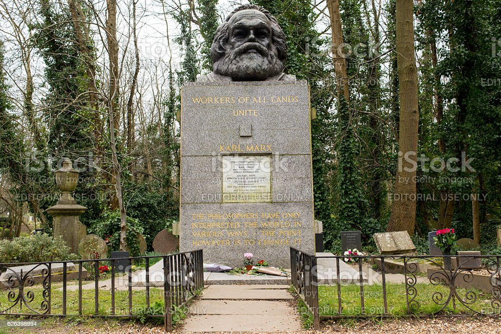 Tomb and statue of socialist philosopher and economist Karl Marx stock photo