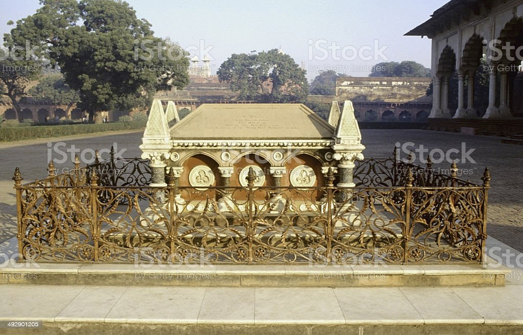 tomb directly front of Diwan-i-Am. John Russell Colvin, Agra, India stock photo