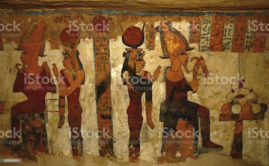 Tomb fresco stock photo