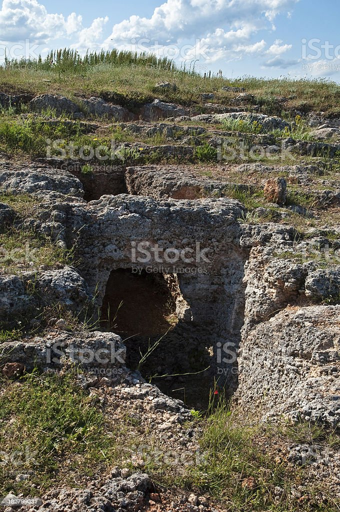 Tomb in ancient necropolis stock photo