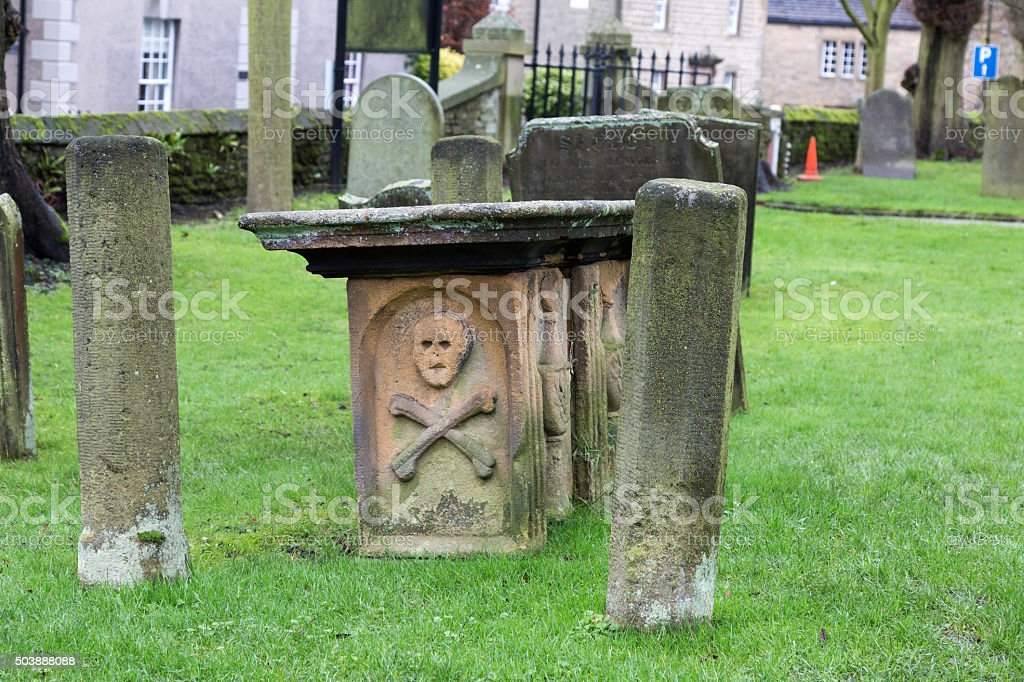 Tomb in the church yard of Eyam, Derbyshire, UK stock photo