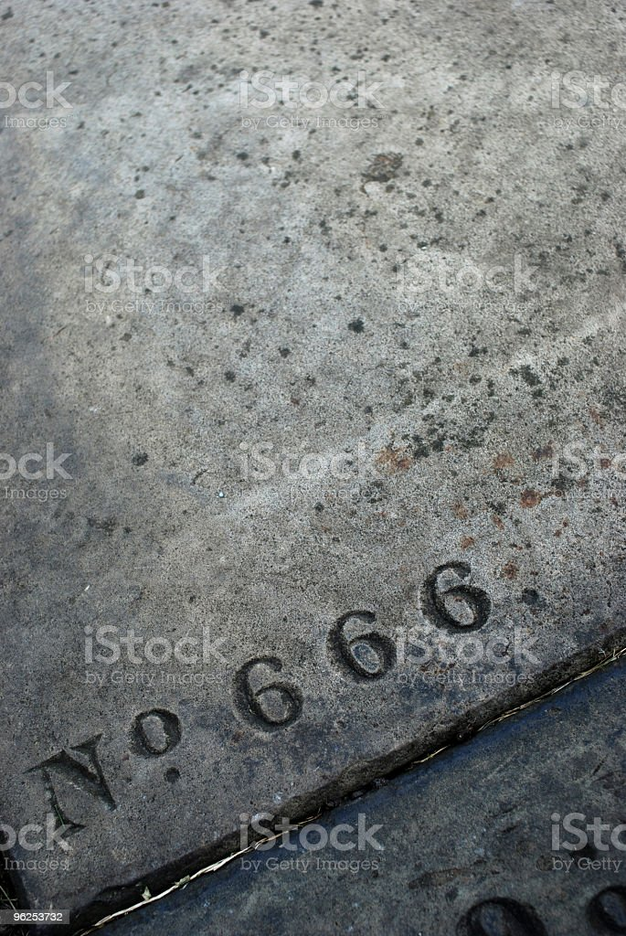 Tomb number 666 stock photo