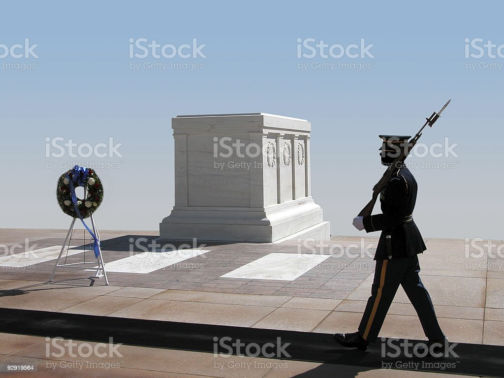 Tomb of an unknown soldier at Arlington National Cemetery stock photo