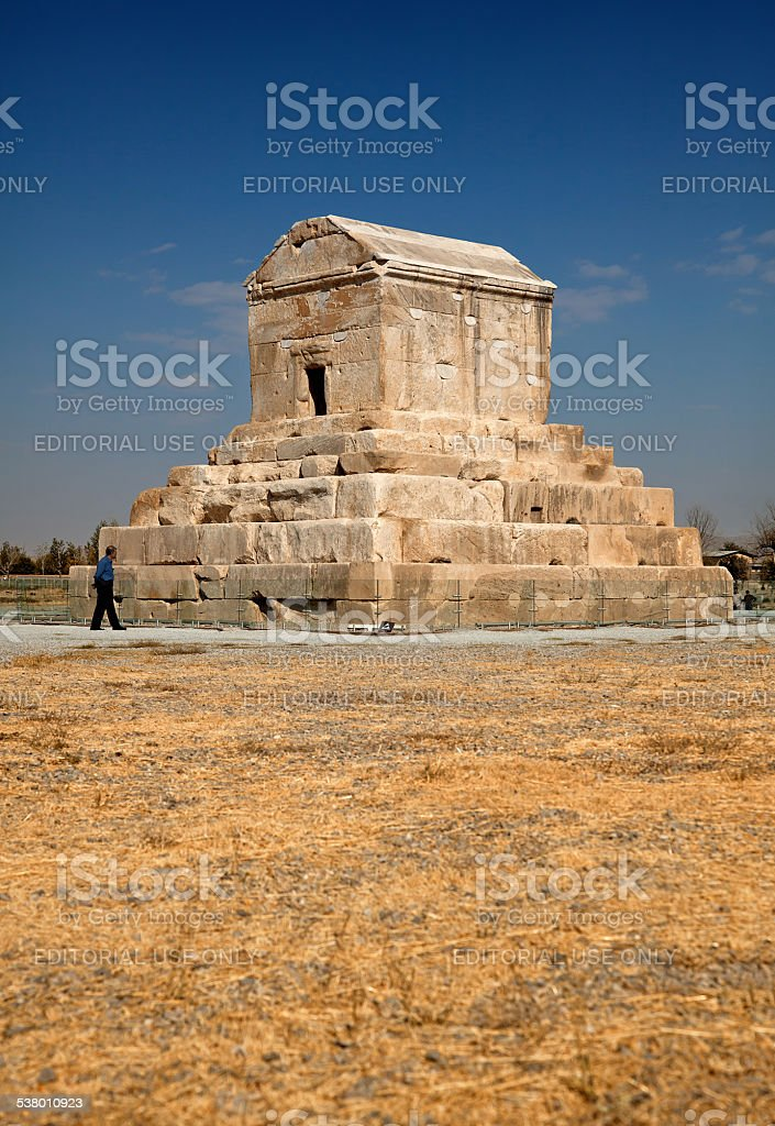 Tomb of Cyrus in Pasargadae of Iran Against Blue Sky stock photo