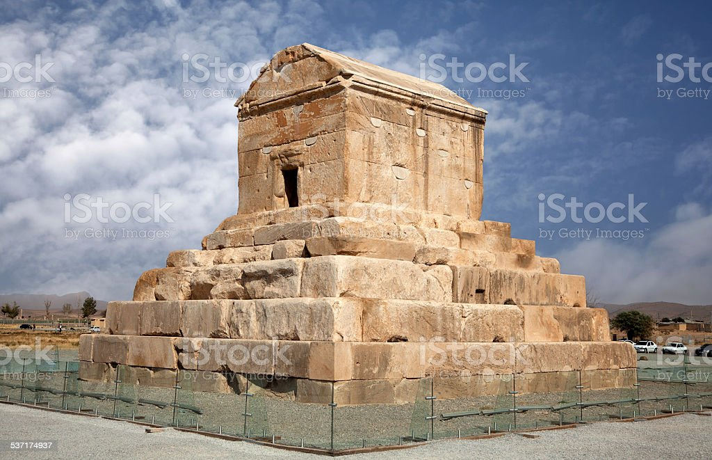 Tomb of Cyrus the Great in Pasargad against Blue Sky stock photo