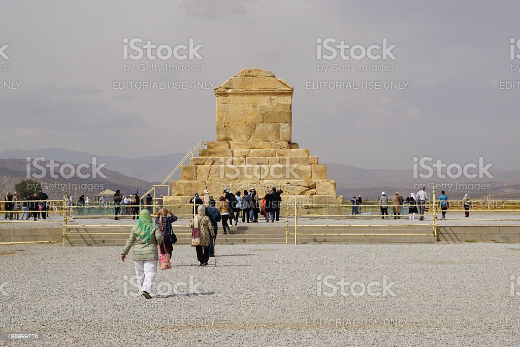 Tomb of Cyrus the Great, Pasargad in  Iran. stock photo