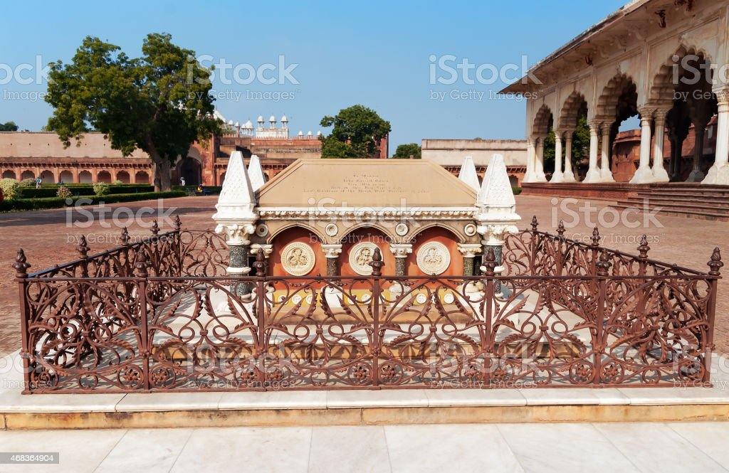Tomb of John Russell Colvin inside Red Agra Fort stock photo