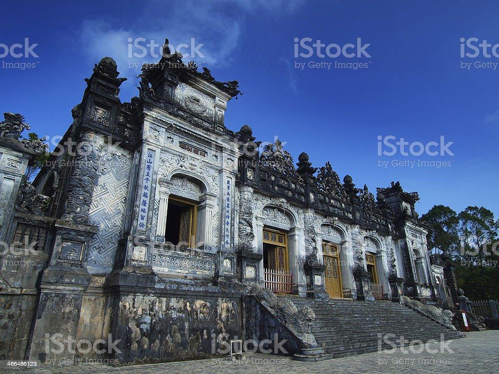 Tomb of Khai Dinh, Hue, Vietnam. UNESCO World Heritage Site. stock photo