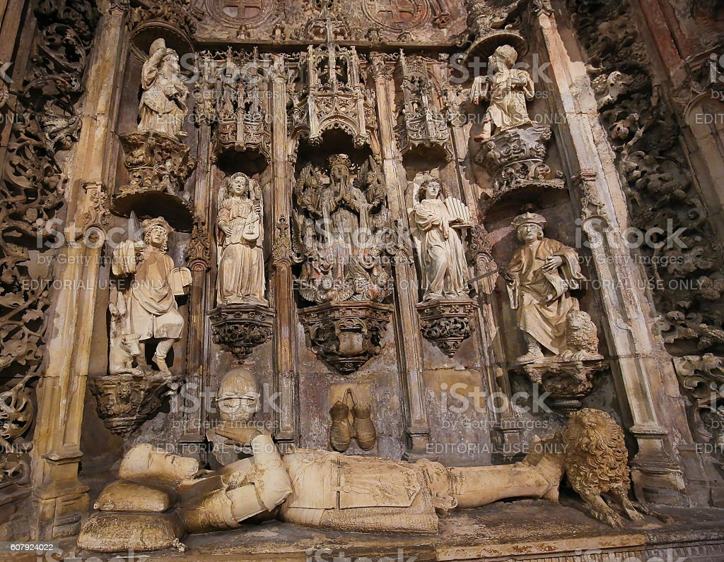 Tomb of King Afonso Henriques in Monastery of Santa Cruz (Coimbra) stock photo