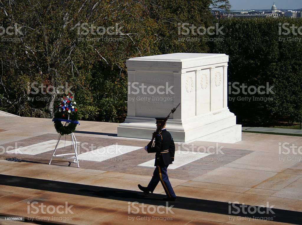Tomb of the unknown soldier Arlington cemetery stock photo