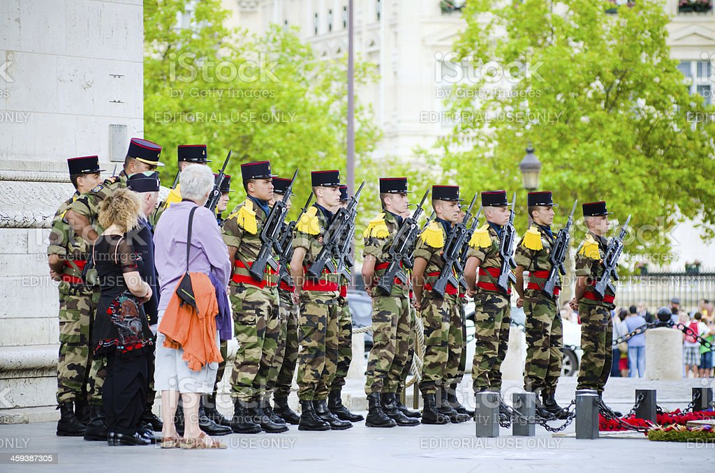 Tomb of the Unknown Soldier ceremony at Arc de Triomphe royalty-free stock photo