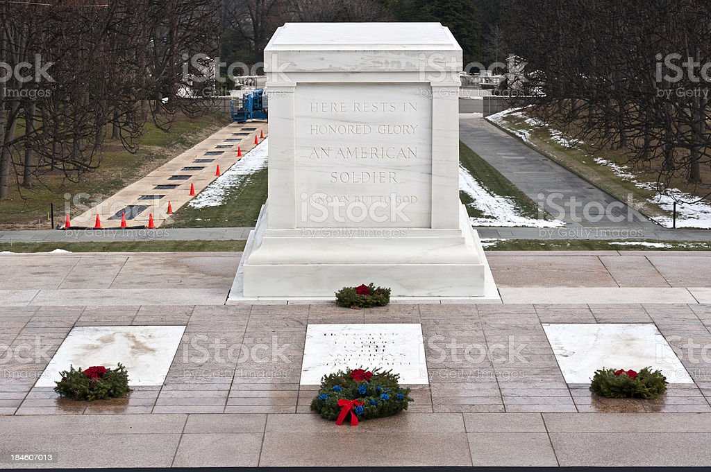 Tomb of the unknown soldier on christmas day stock photo