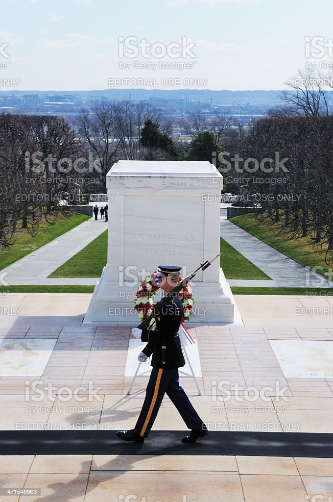 Tomb of the Unknowns Guard Arlington National Cemetery royalty-free stock photo