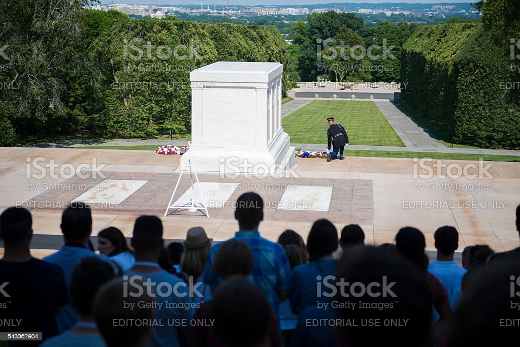 Tomb of the Unkown Soldier at Arlington National Cemetery stock photo