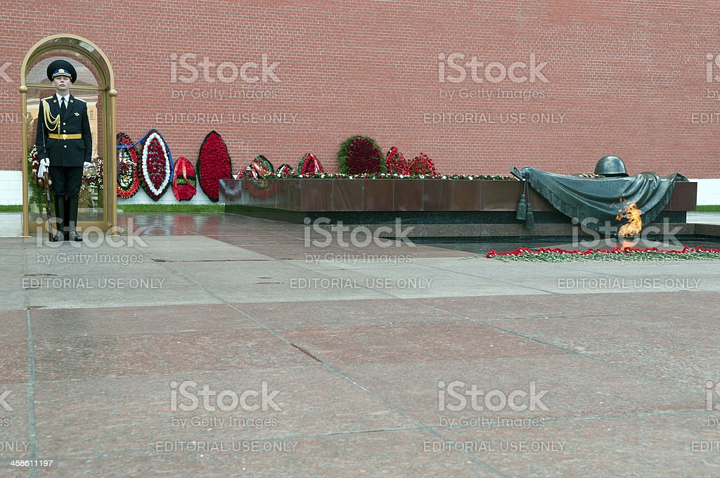 Tomb of Unknown Soldier and Guard Kremlin Russia royalty-free stock photo