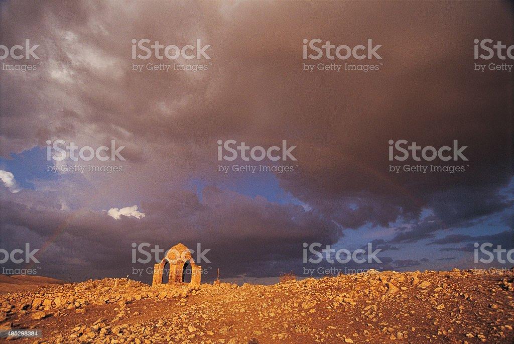 Tomb Under Rainbow stock photo