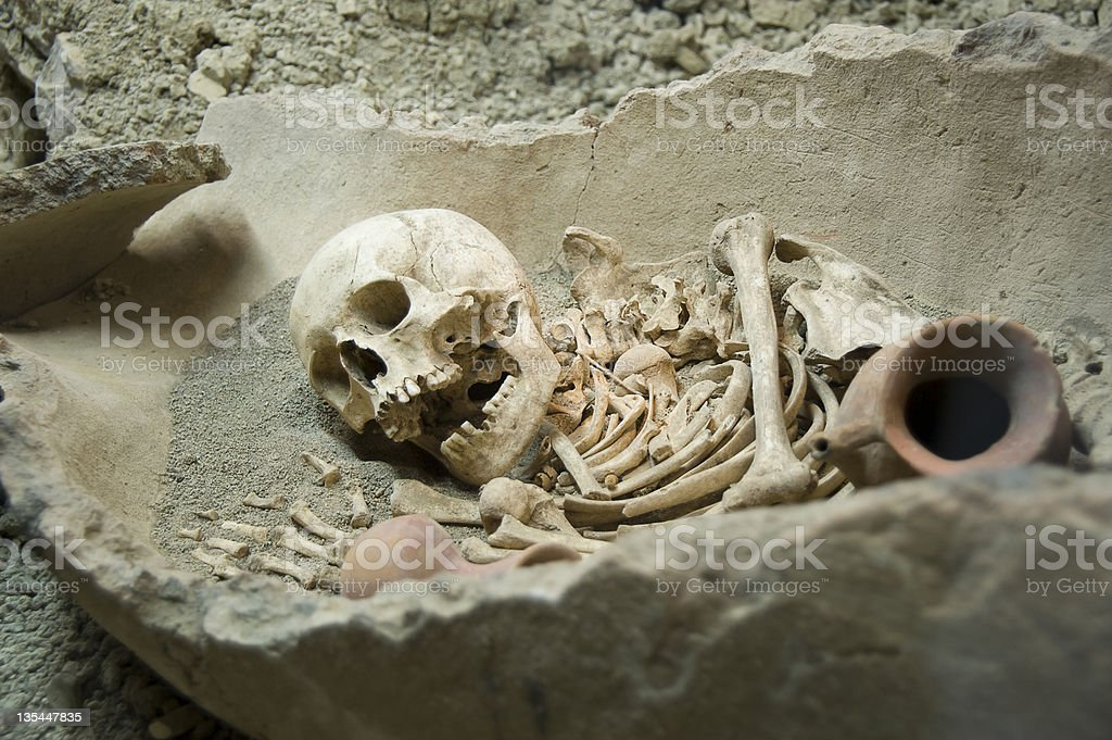 Tomb with Skeleton Remains stock photo