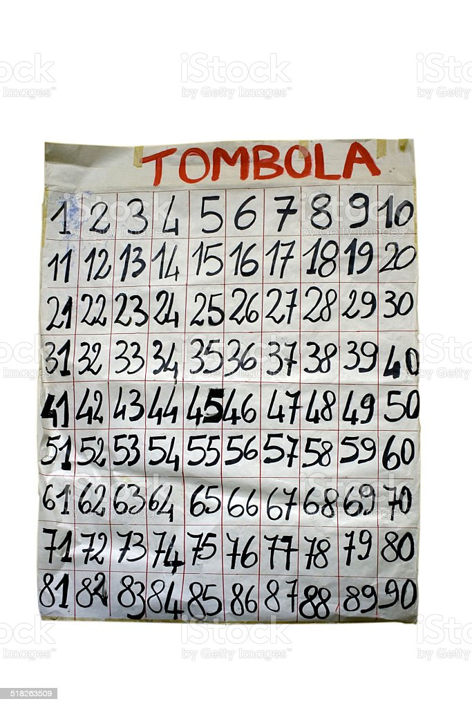 Tombola or bingo numbers stock photo