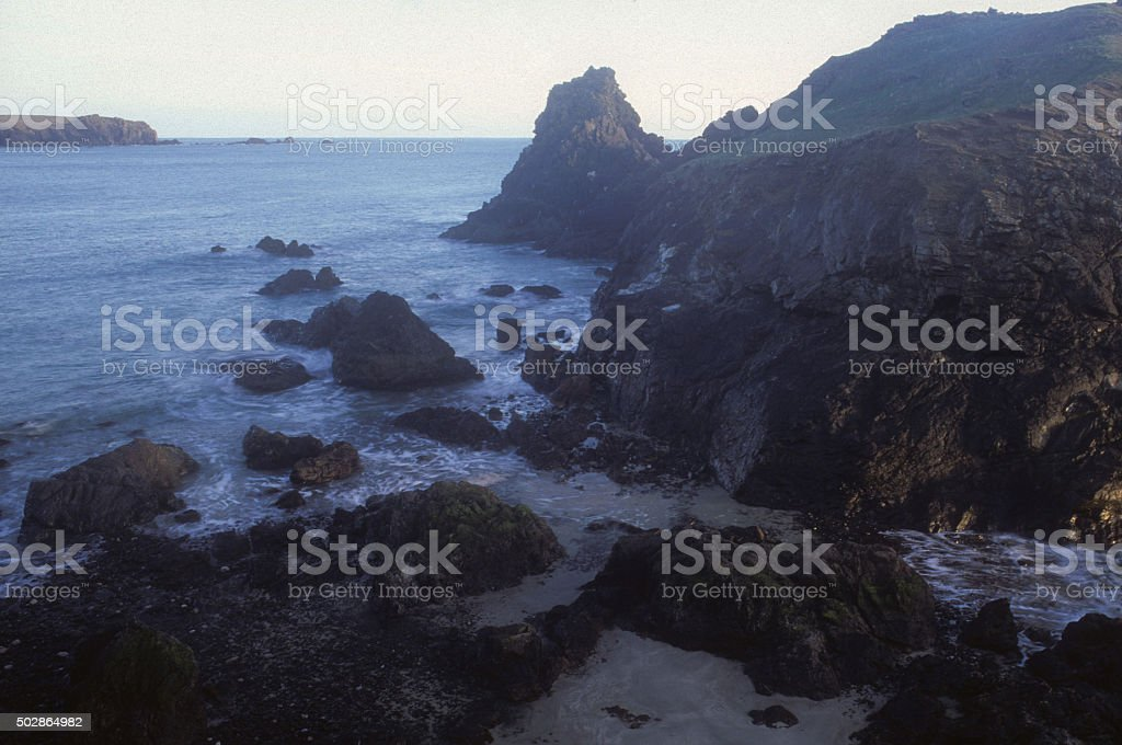 Tombolo Kynance Cove stock photo
