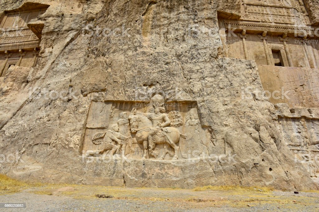 Tombs Achaemenid kings in Naqsh-e Rustam, Persepolis ruin Iran stock photo