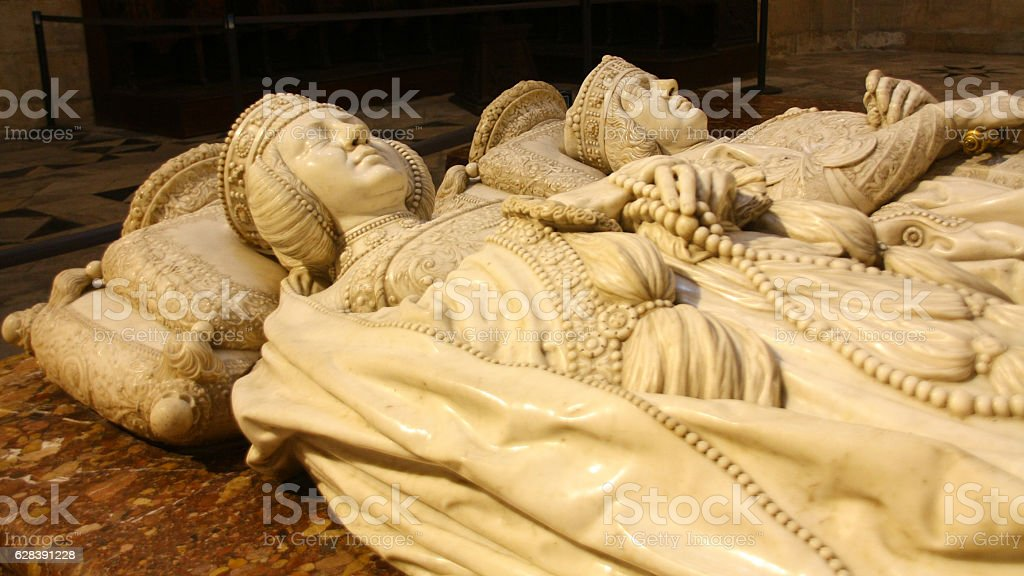 Tombs in Cathedral of Burgos stock photo