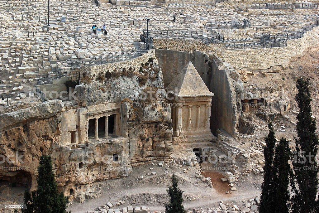 Tombs in Kidron Valley, Jerusalem, Israel stock photo