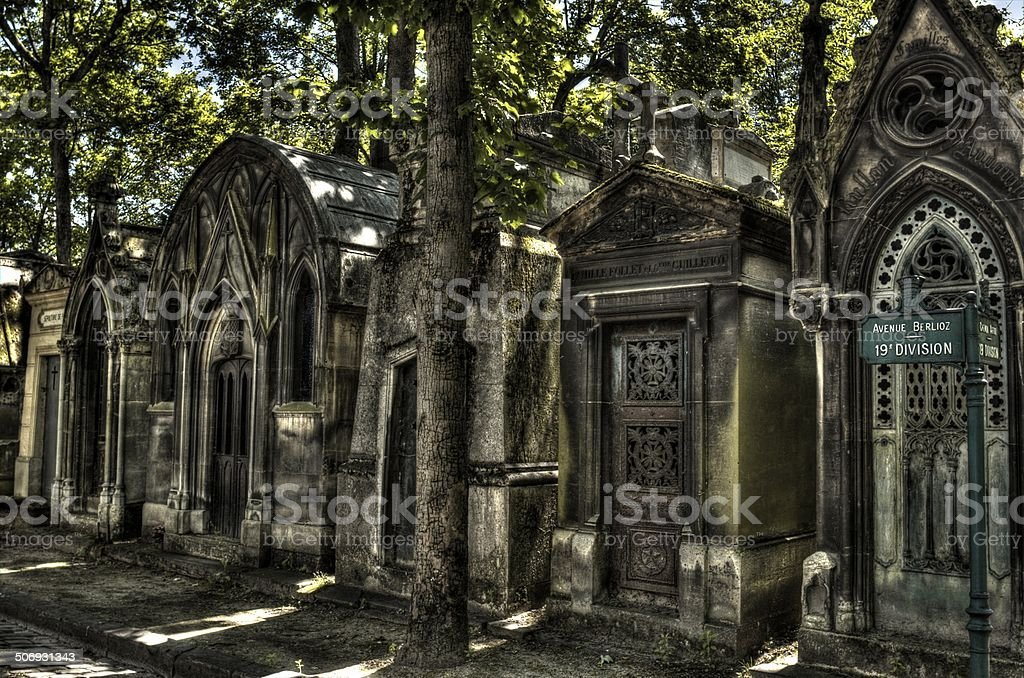 Tombs in Montmartre Cemetary stock photo