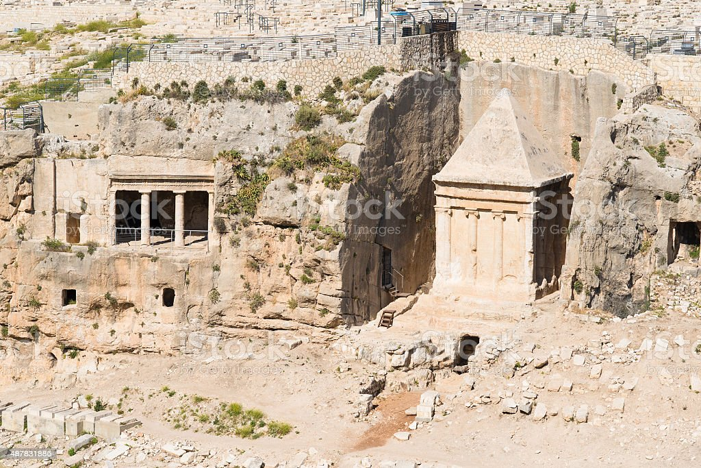 Tombs of Absalom and Zachariah jerusalem stock photo