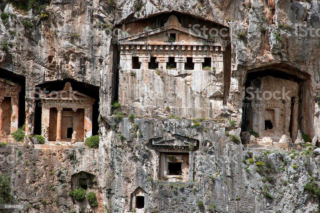 Tombs of Kaunos ancient city (Turkey). stock photo