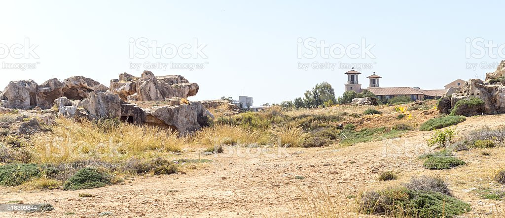 Tombs of Kings ancient necropolis of 4th century BC. Paphos, stock photo
