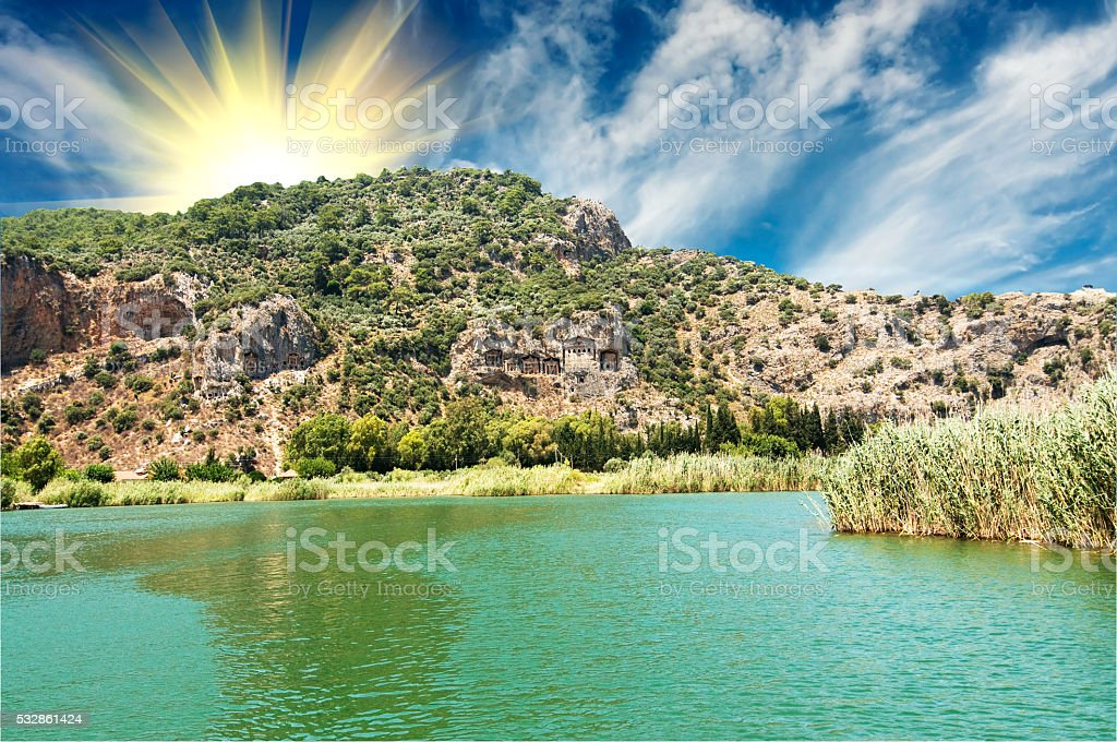Tombs of the Lycian near the Dalyan river. stock photo