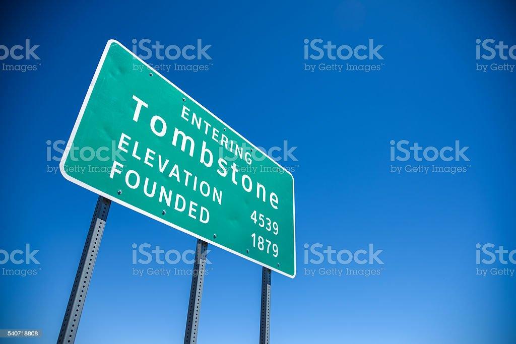 Tombstone Arizona Highway Sign stock photo
