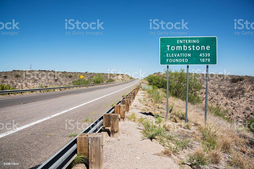 Tombstone Arizona Road Sign stock photo