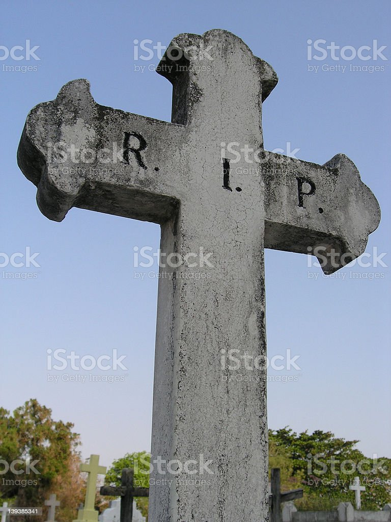 Tombstone at a graveyard - Rest In Peace royalty-free stock photo