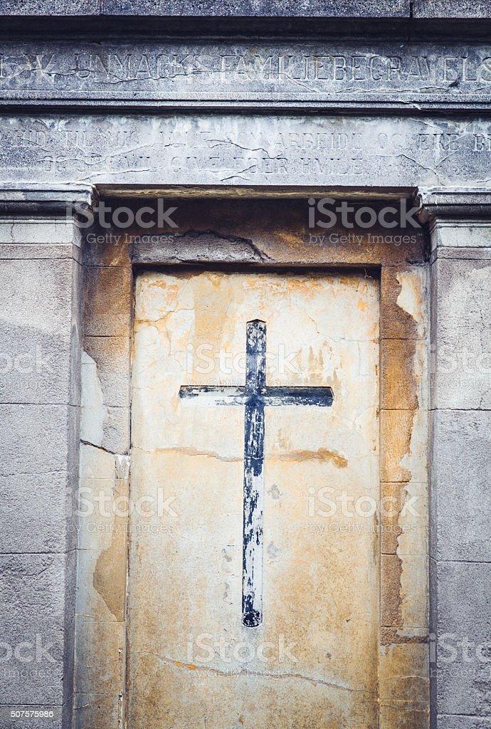 Tombstone cross stock photo