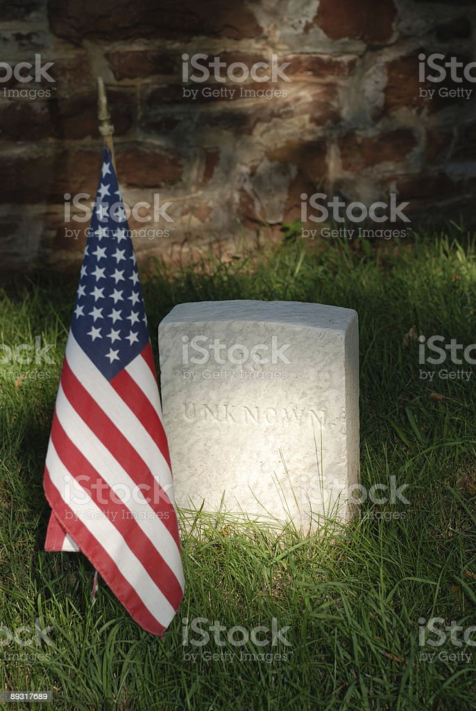 Tombstone for an unknown soldier. stock photo