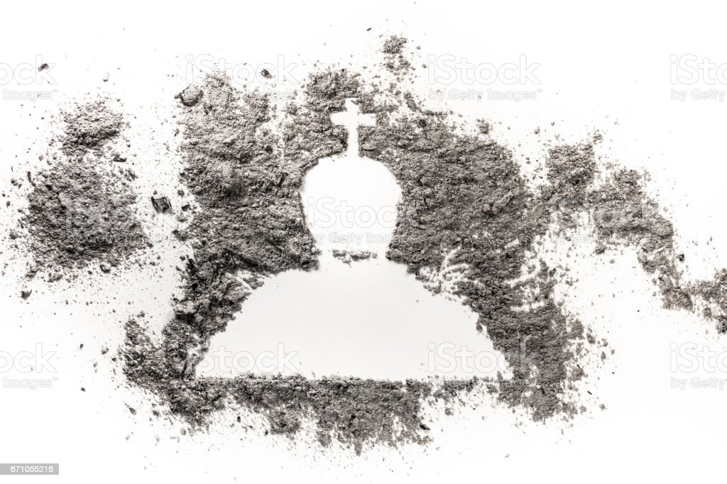 Tombstone, headstone or gravestone drawing silhouette made in grey ash stock photo