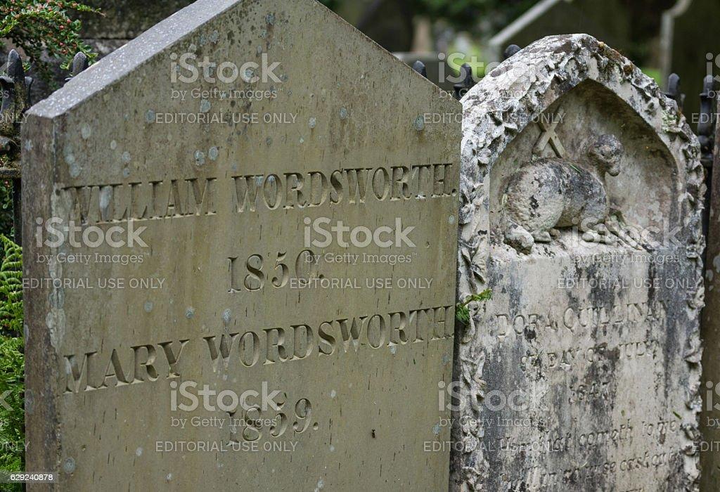 Tombstone of William Wordsworth in Grasmere. stock photo