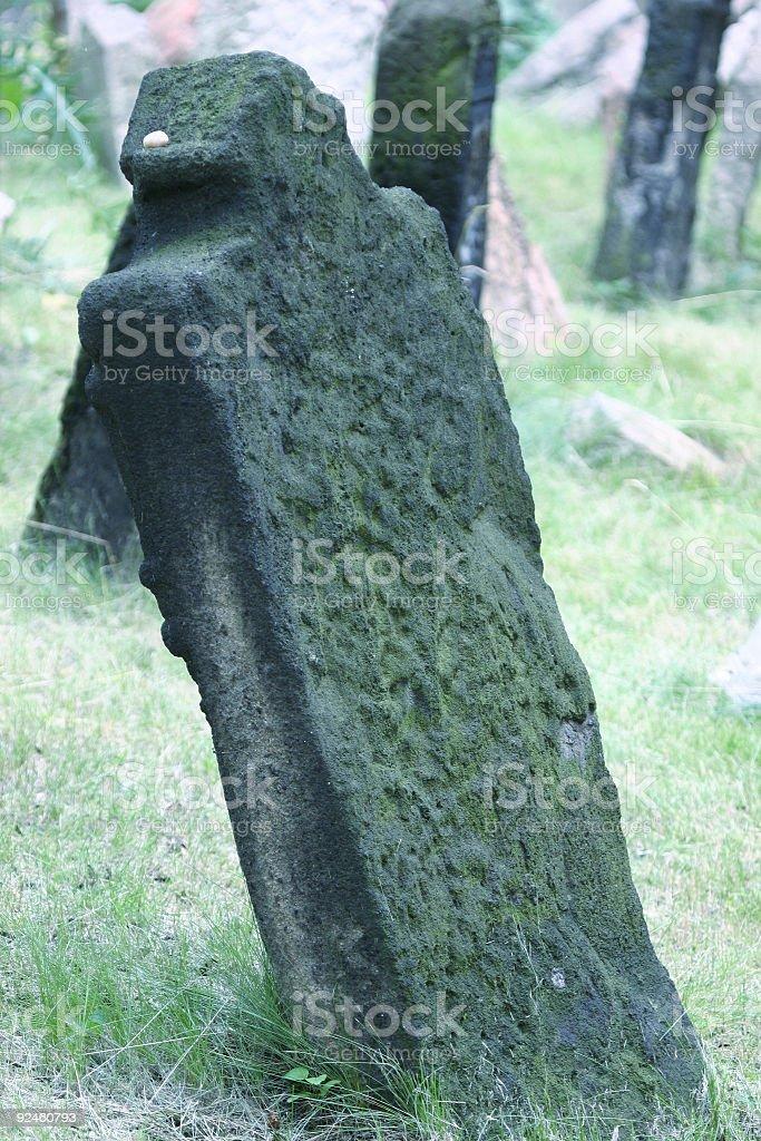 Tombstone old jewish graveyard prague stock photo