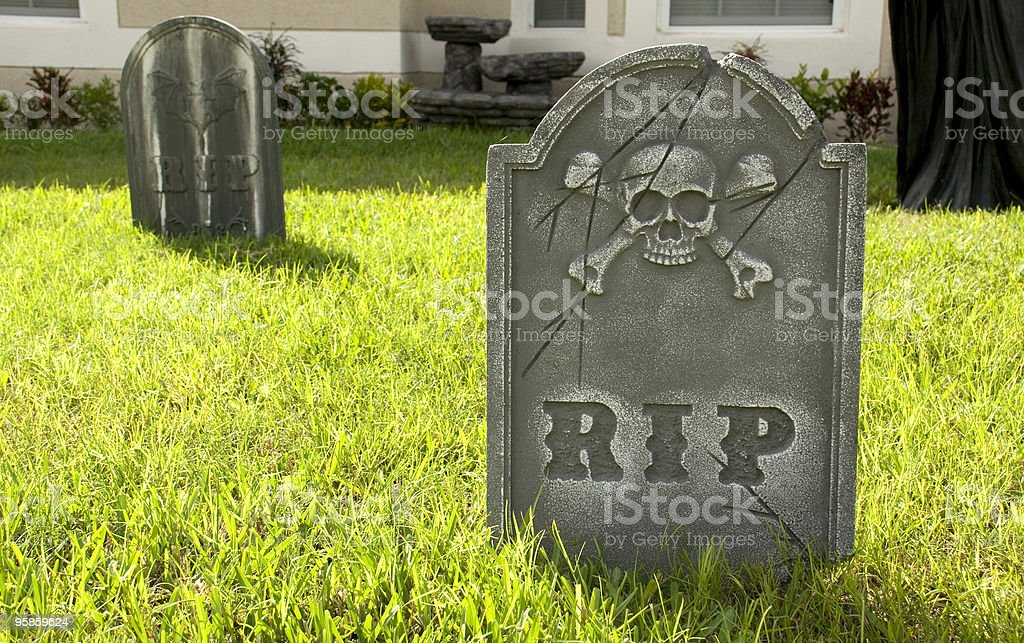 RIP Tombstone on Lawn stock photo