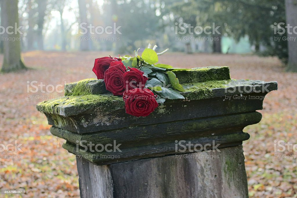 Tombstone with Roses stock photo