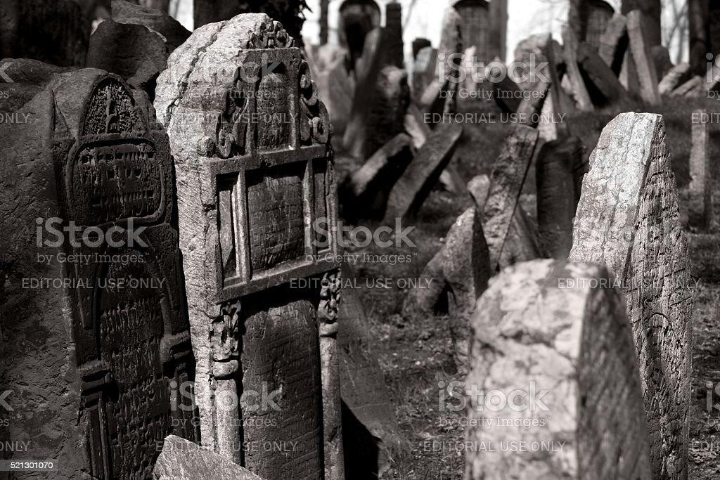 Tombstones at the Jewish cemetery of Josefov Prague stock photo