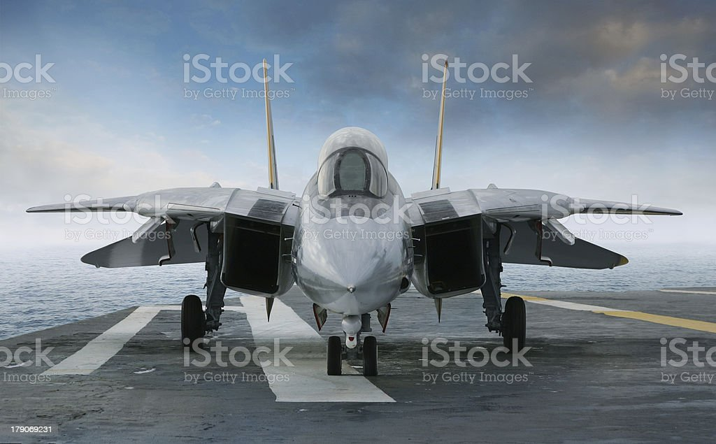 F-14 Tomcat fighter jet on carrier deck stock photo