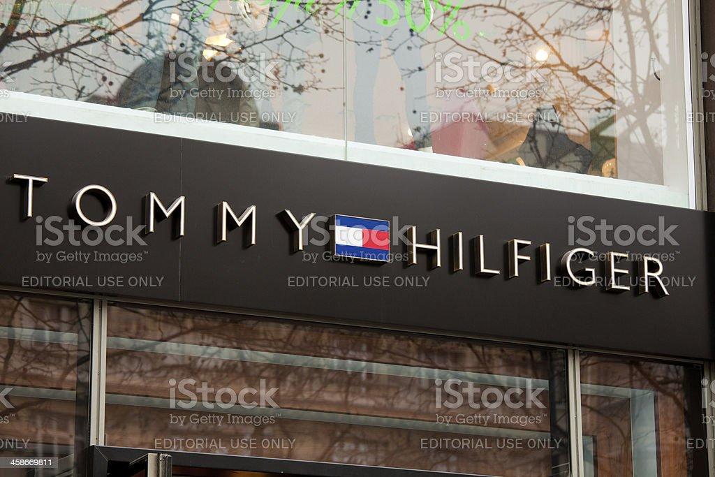 Tommy Hilfiger Logo on a Shop royalty-free stock photo
