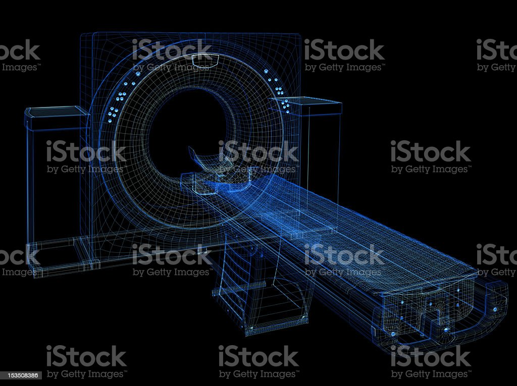 Tomography tunnel outline in blue royalty-free stock photo