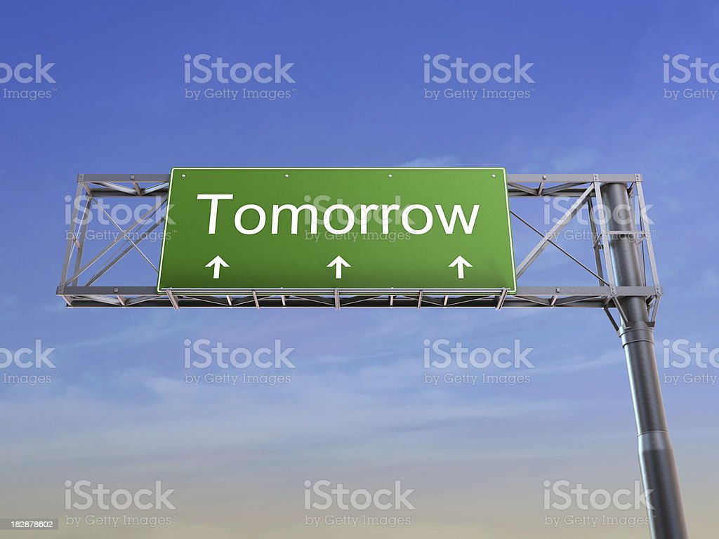 Tomorrow - highway sign concept royalty-free stock photo