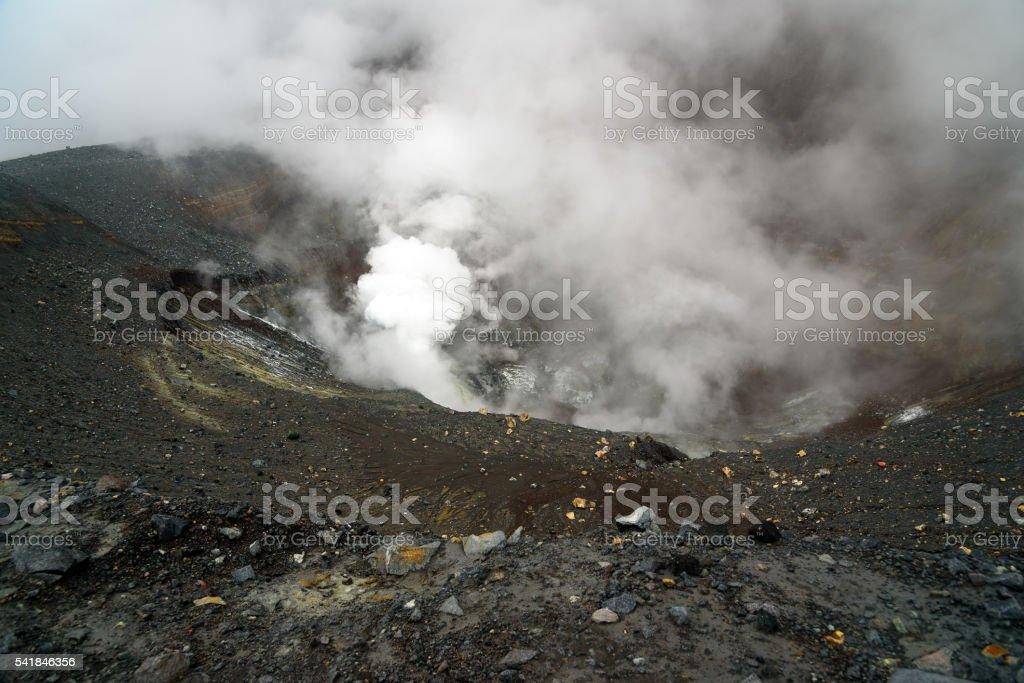 Tompaluan crater Lokon-Empung volcano stock photo