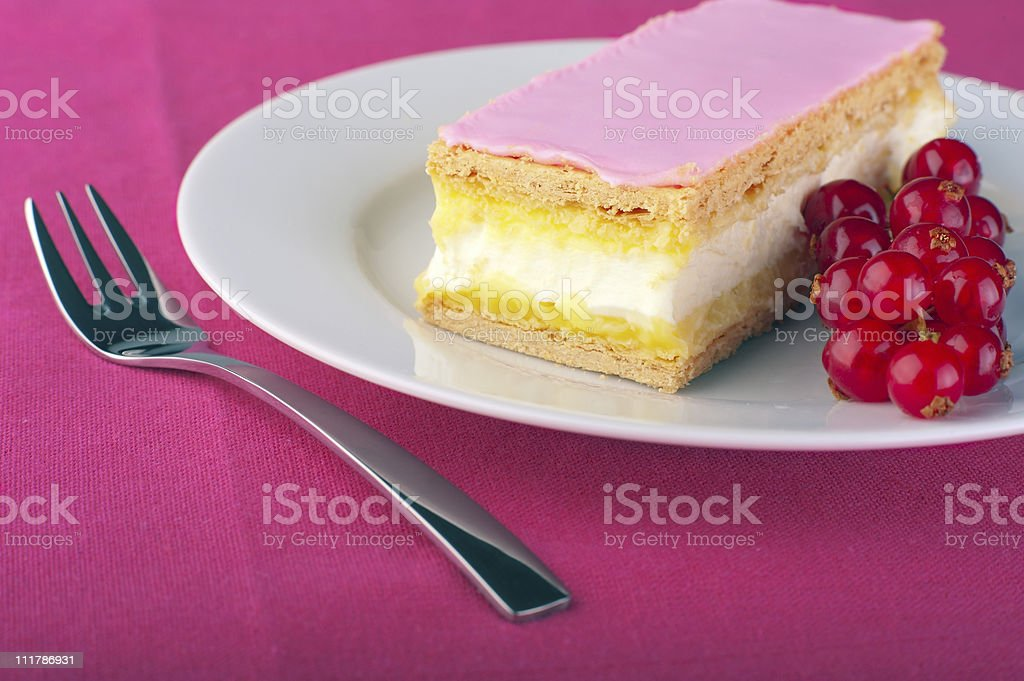Tompouce on a plate royalty-free stock photo