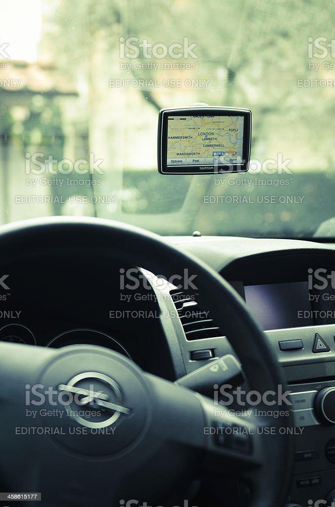 TomTom navigator inside a Opel car royalty-free stock photo