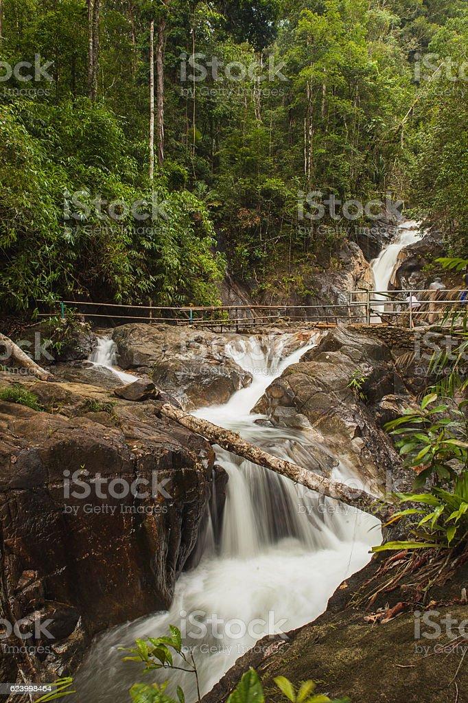 Ton Pariwat Waterfall or Namtok Song Phraek on phang nga. stock photo